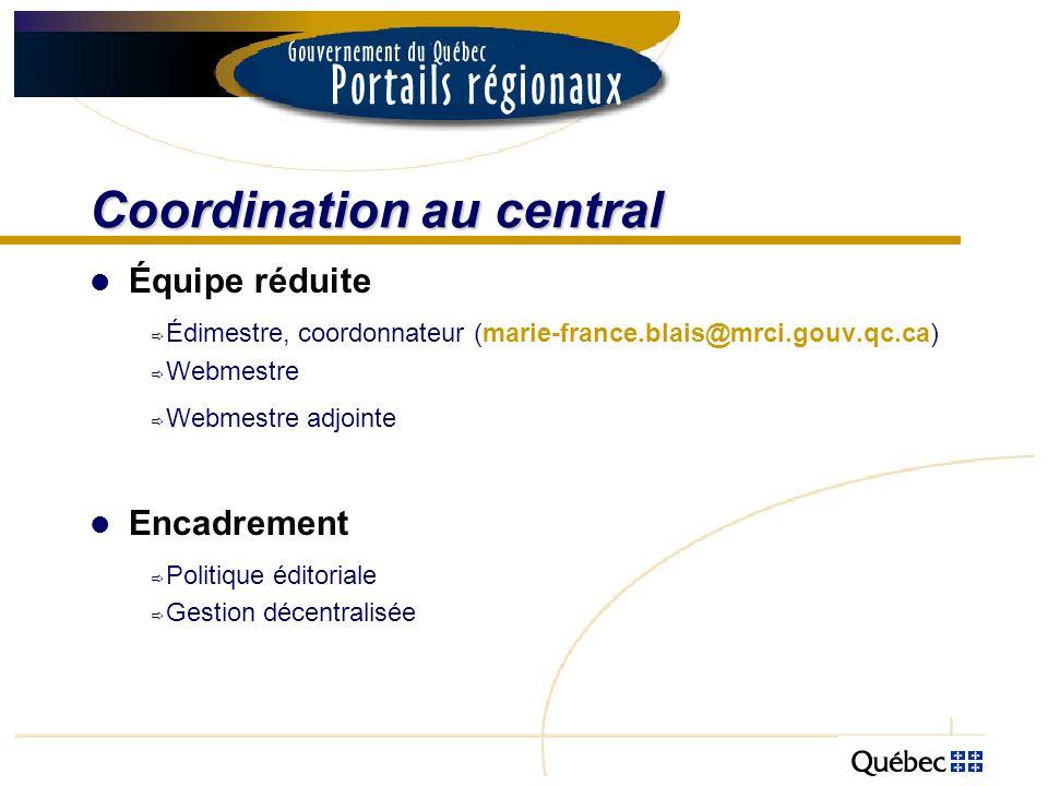Coordination au central Équipe réduite Édimestre, coordonnateur (marie-france.blais@mrci.gouv.qc.ca) Webmestre Webmestre adjointe Encadrement Politiqu