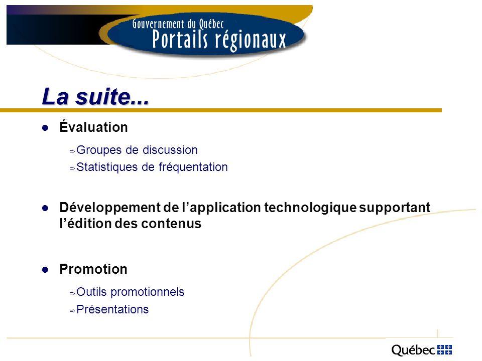 La suite... Évaluation Groupes de discussion Statistiques de fréquentation Développement de lapplication technologique supportant lédition des contenu
