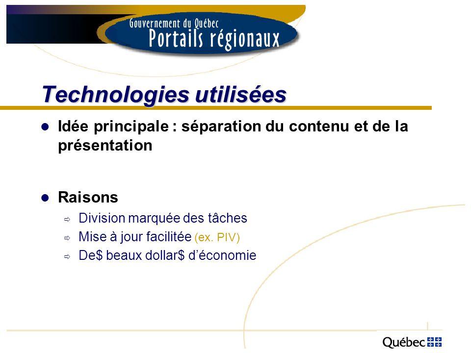Technologies utilisées Idée principale : séparation du contenu et de la présentation Raisons Division marquée des tâches Mise à jour facilitée (ex. PI