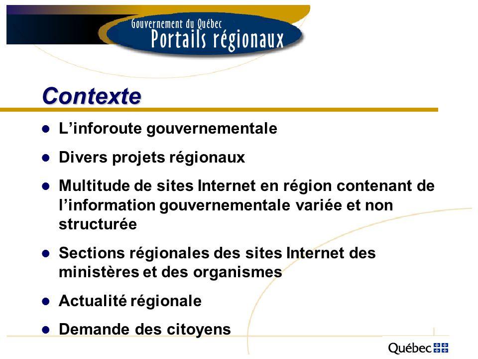Contexte Linforoute gouvernementale Divers projets régionaux Multitude de sites Internet en région contenant de linformation gouvernementale variée et