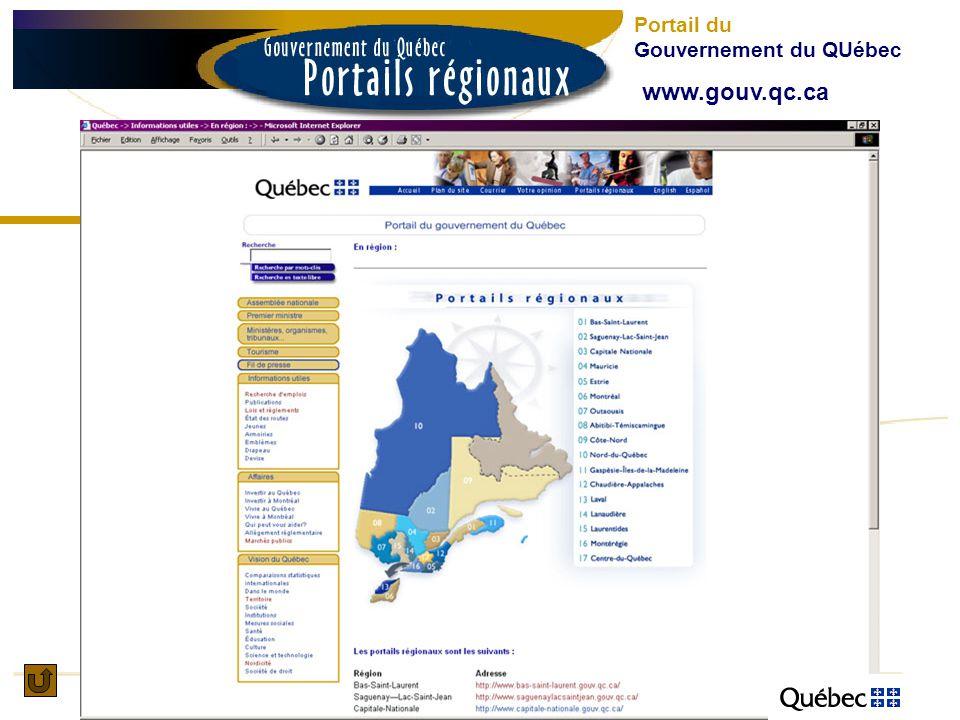 Portail du Gouvernement du QUébec www.gouv.qc.ca