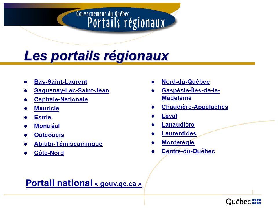 Les portails régionaux Bas-Saint-Laurent Saguenay-Lac-Saint-Jean Capitale-Nationale Mauricie Estrie Montréal Outaouais Abitibi-Témiscamingue Côte-Nord