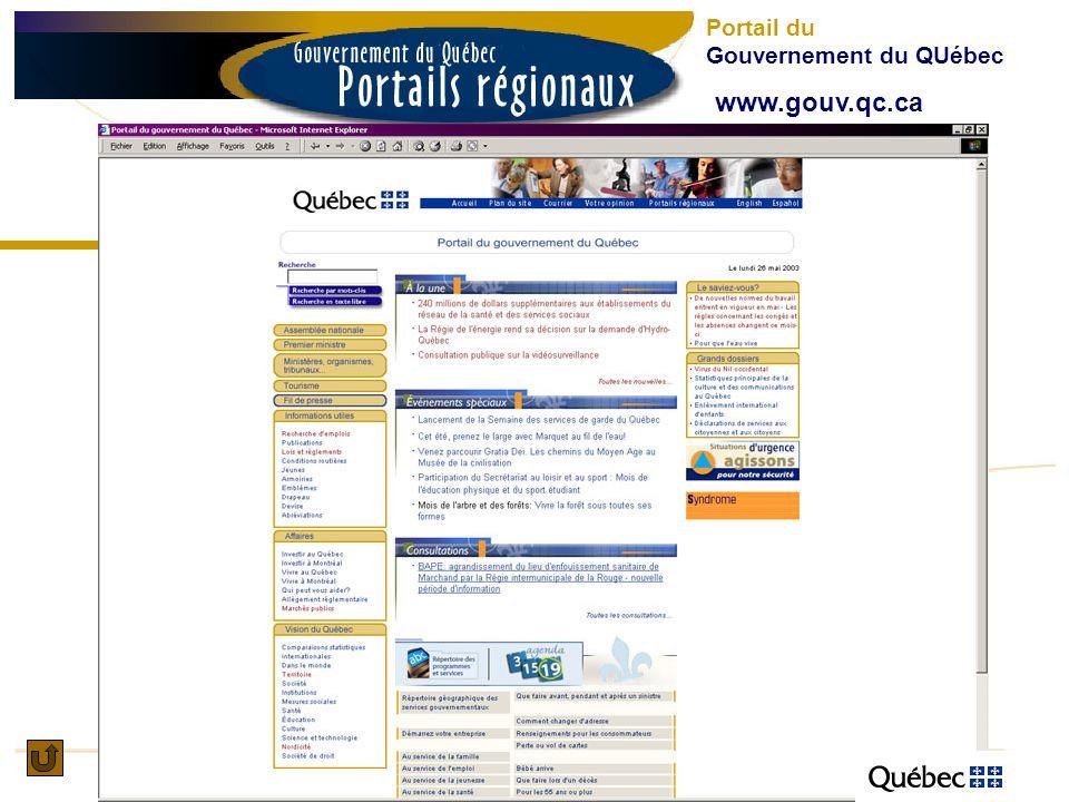 www.gouv.qc.ca Portail du Gouvernement du QUébec