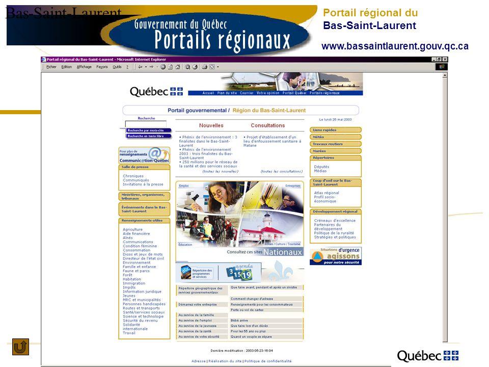 Bas-Saint-Laurent Portail régional du Bas-Saint-Laurent www.bassaintlaurent.gouv.qc.ca