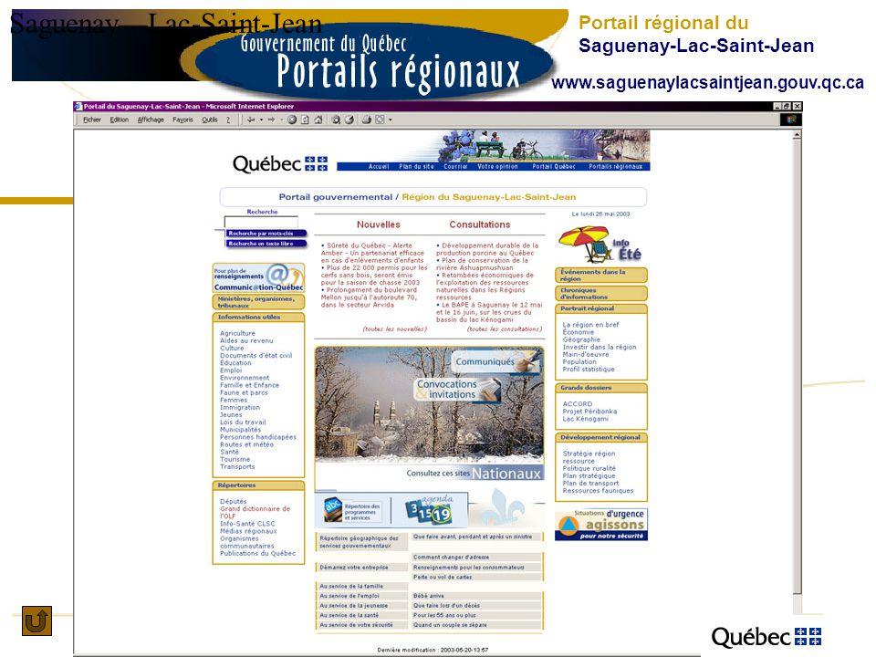 SaguenayLac-Saint-Jean Portail régional du Saguenay-Lac-Saint-Jean www.saguenaylacsaintjean.gouv.qc.ca
