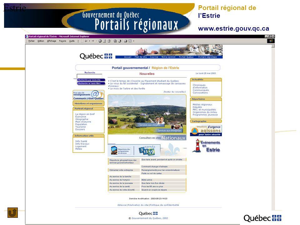 Estrie Portail régional de lEstrie www.estrie.gouv.qc.ca
