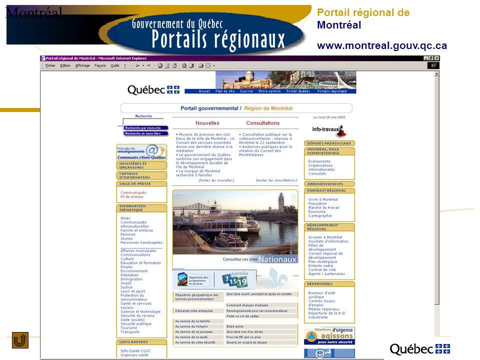 Montréal Portail régional de Montréal www.montreal.gouv.qc.ca