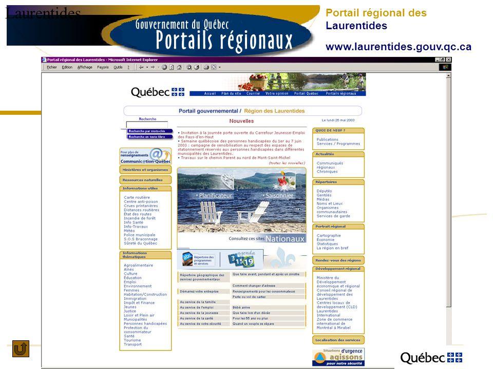 Laurentides Portail régional des Laurentides www.laurentides.gouv.qc.ca