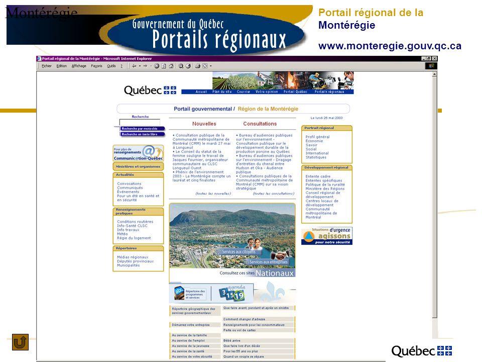 Montérégie Portail régional de la Montérégie www.monteregie.gouv.qc.ca