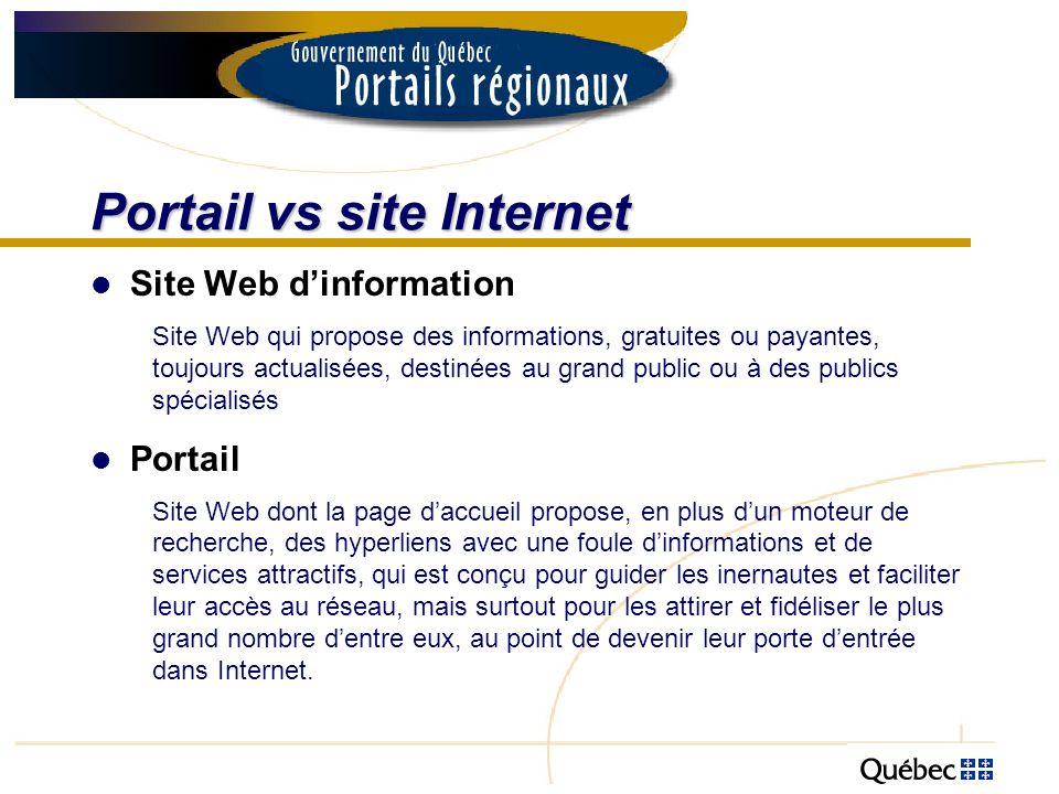 Portail vs site Internet Portail gouvernemental régional Les portails régionaux du gouvernement du Québec sont principalement des sites de diffusion de linformation dont la coordination relève de Communication-Québec, au MRCI.