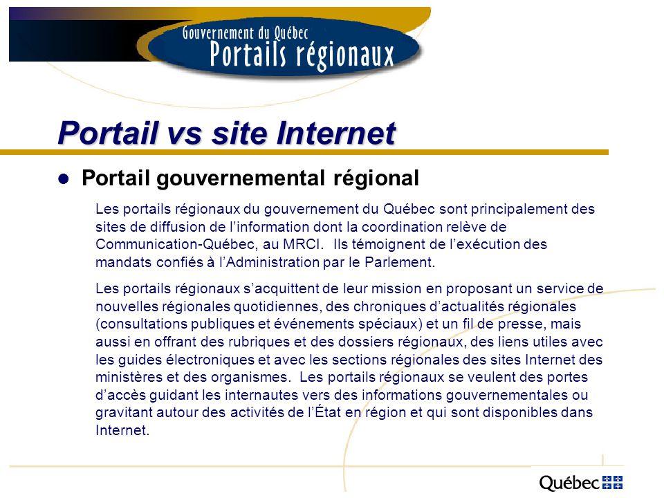 Portail vs site Internet Portail gouvernemental régional Les portails régionaux du gouvernement du Québec sont principalement des sites de diffusion d