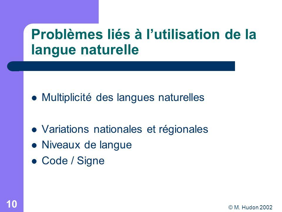 © M. Hudon 2002 10 Multiplicité des langues naturelles Variations nationales et régionales Niveaux de langue Code / Signe Problèmes liés à lutilisatio