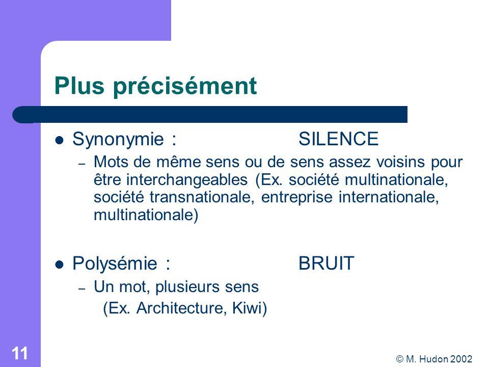© M. Hudon 2002 11 Plus précisément Synonymie : SILENCE – Mots de même sens ou de sens assez voisins pour être interchangeables (Ex. société multinati