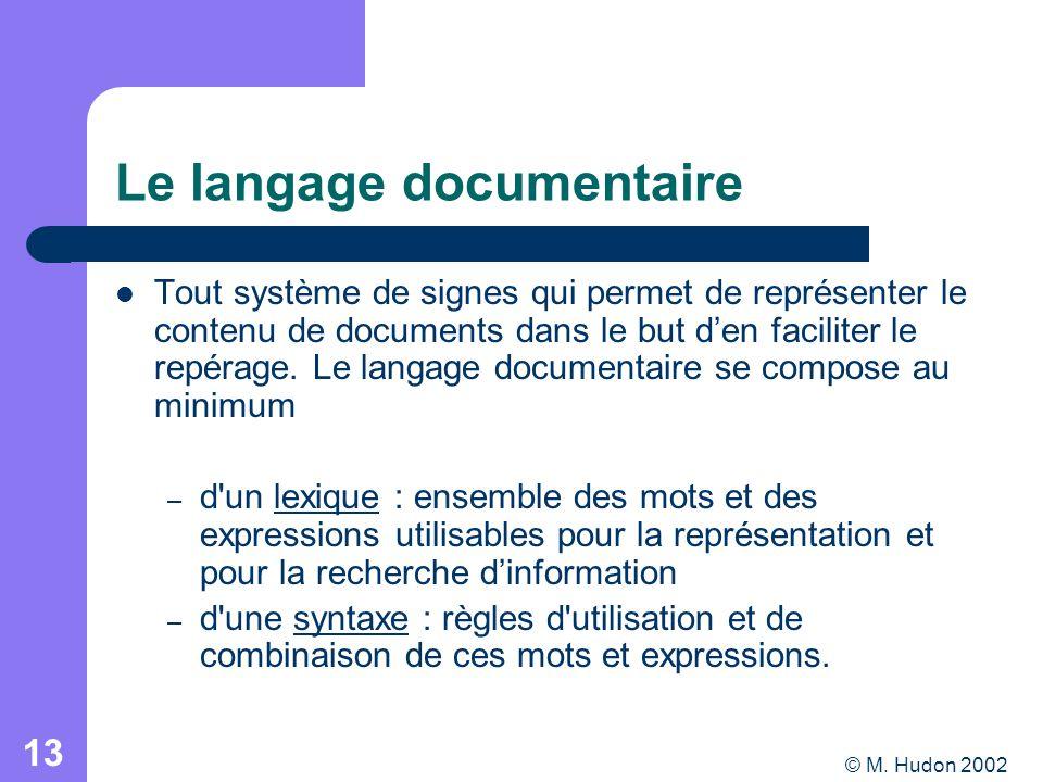 © M. Hudon 2002 13 Le langage documentaire Tout système de signes qui permet de représenter le contenu de documents dans le but den faciliter le repér