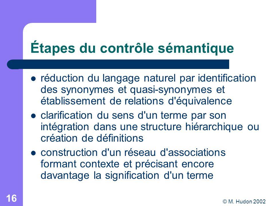 © M. Hudon 2002 16 Étapes du contrôle sémantique réduction du langage naturel par identification des synonymes et quasi-synonymes et établissement de