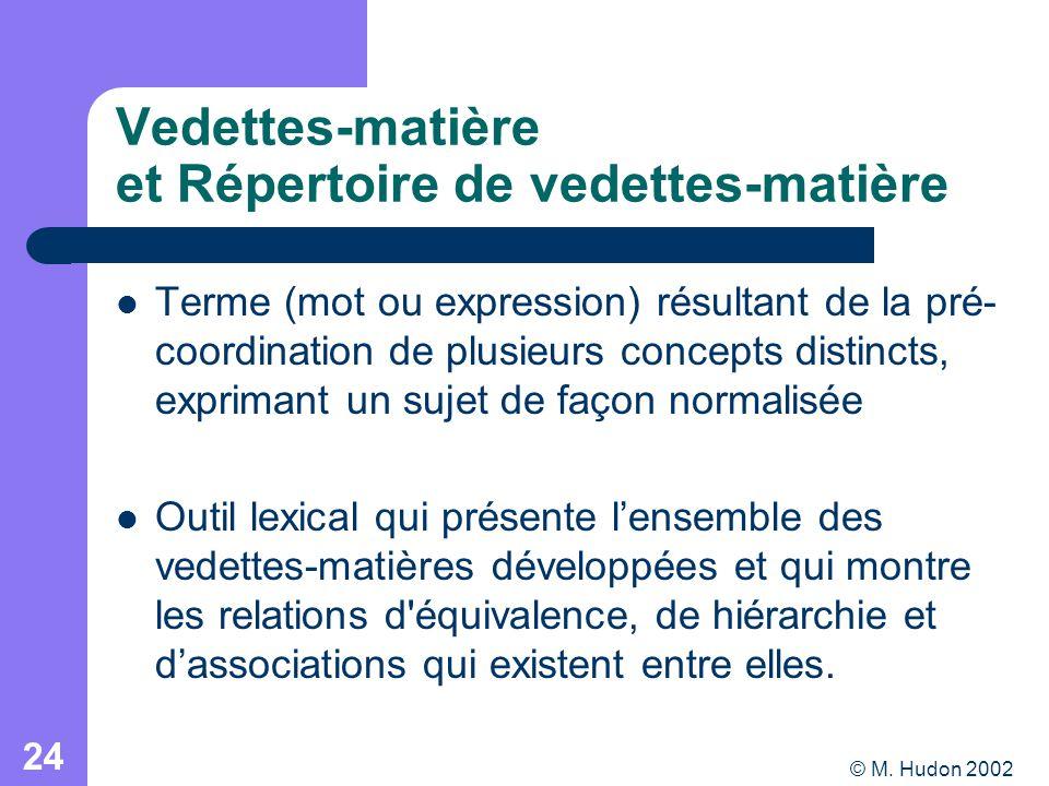 © M. Hudon 2002 24 Vedettes-matière et Répertoire de vedettes-matière Terme (mot ou expression) résultant de la pré- coordination de plusieurs concept