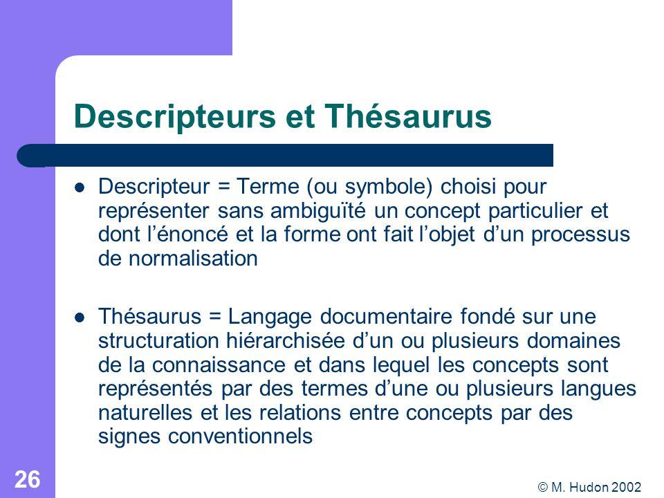 © M. Hudon 2002 26 Descripteurs et Thésaurus Descripteur = Terme (ou symbole) choisi pour représenter sans ambiguïté un concept particulier et dont lé