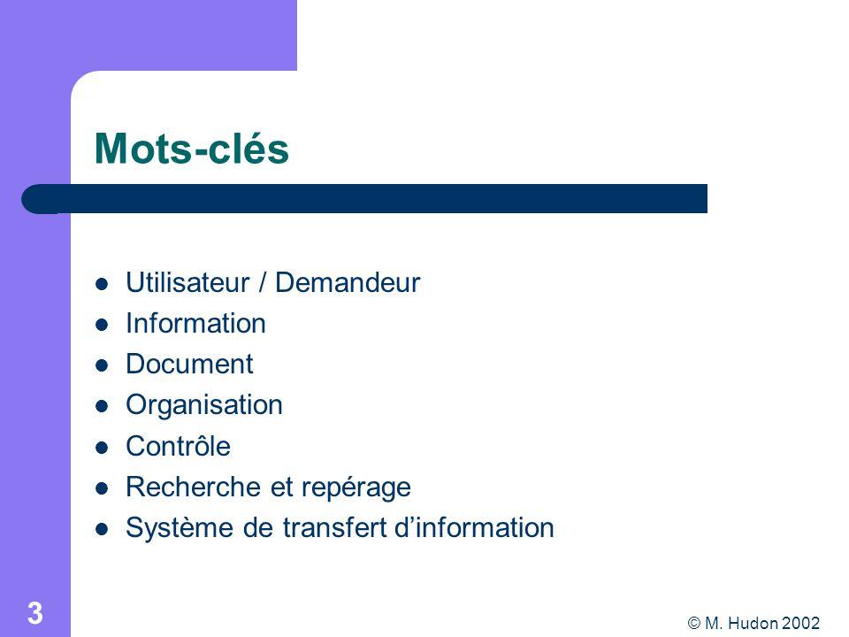 © M. Hudon 2002 3 Mots-clés Utilisateur / Demandeur Information Document Organisation Contrôle Recherche et repérage Système de transfert dinformation