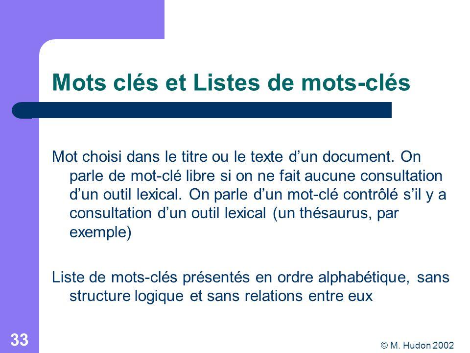 © M. Hudon 2002 33 Mots clés et Listes de mots-clés Mot choisi dans le titre ou le texte dun document. On parle de mot-clé libre si on ne fait aucune