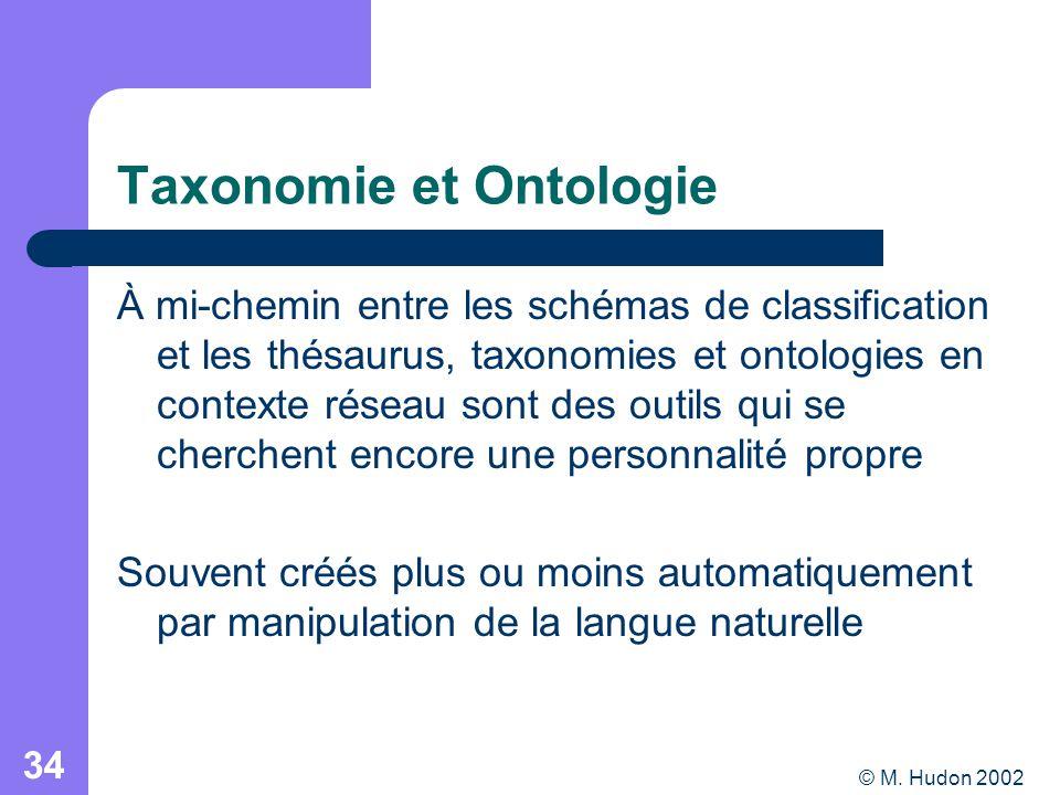 © M. Hudon 2002 34 Taxonomie et Ontologie À mi-chemin entre les schémas de classification et les thésaurus, taxonomies et ontologies en contexte résea
