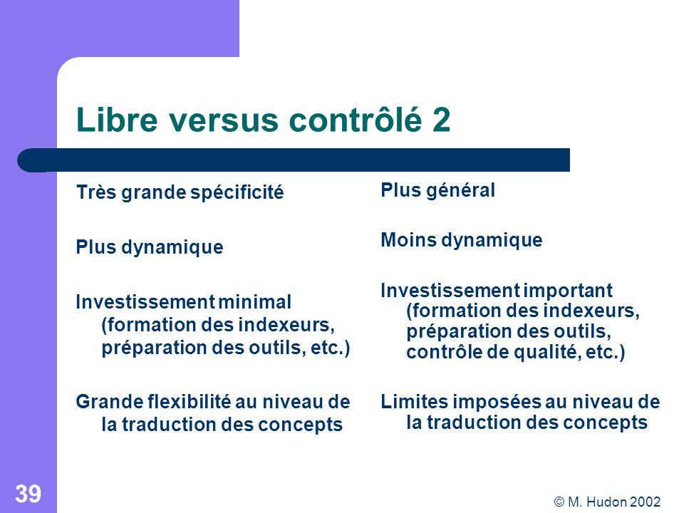 © M. Hudon 2002 39 Libre versus contrôlé 2 Très grande spécificité Plus dynamique Investissement minimal (formation des indexeurs, préparation des out