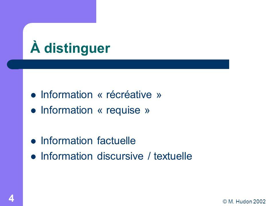 © M. Hudon 2002 4 À distinguer Information « récréative » Information « requise » Information factuelle Information discursive / textuelle