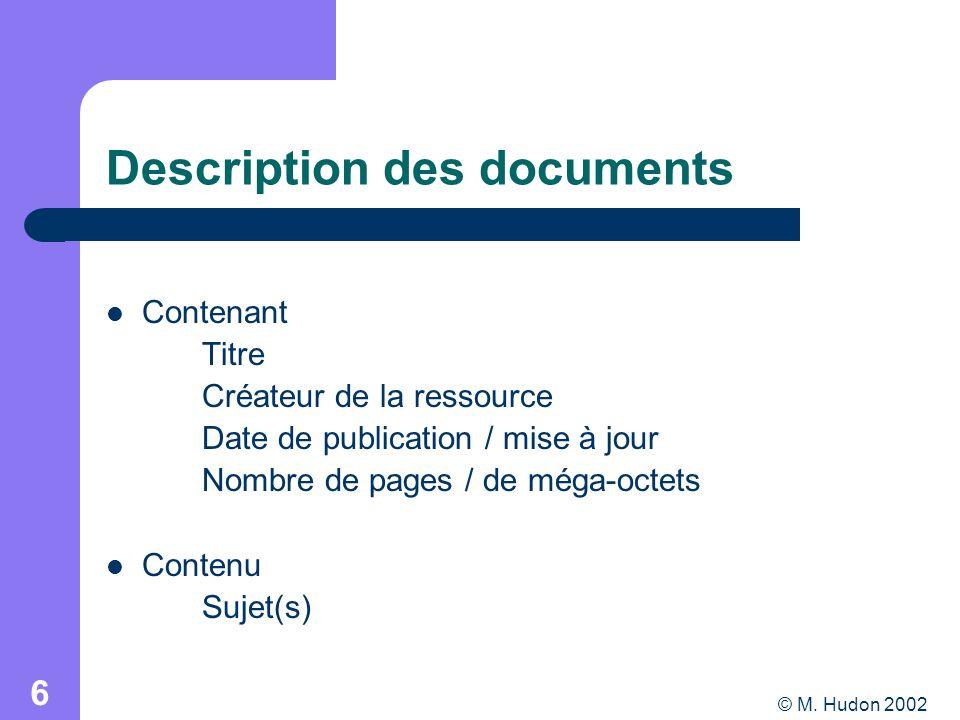 © M. Hudon 2002 6 Description des documents Contenant Titre Créateur de la ressource Date de publication / mise à jour Nombre de pages / de méga-octet