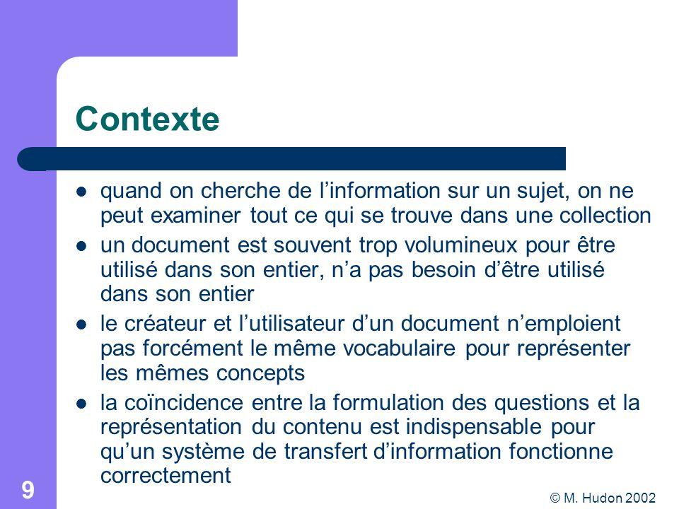 © M. Hudon 2002 9 Contexte quand on cherche de linformation sur un sujet, on ne peut examiner tout ce qui se trouve dans une collection un document es