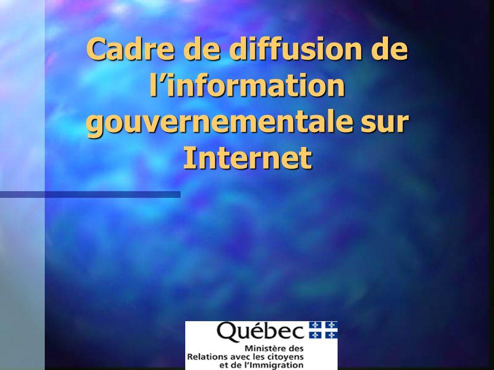 Cadre de diffusion de linformation gouvernementale sur Internet