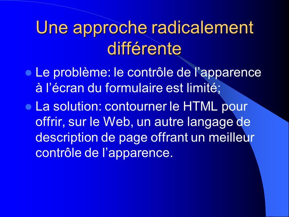 Une approche radicalement différente Le problème: le contrôle de lapparence à lécran du formulaire est limité; La solution: contourner le HTML pour offrir, sur le Web, un autre langage de description de page offrant un meilleur contrôle de lapparence.