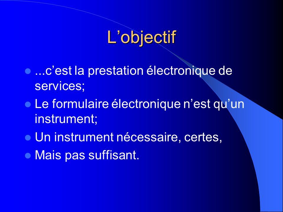 Lobjectif...cest la prestation électronique de services; Le formulaire électronique nest quun instrument; Un instrument nécessaire, certes, Mais pas suffisant.