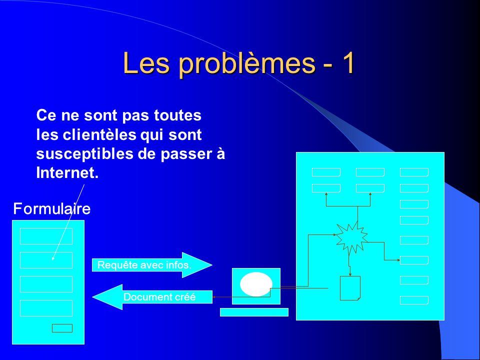 Les problèmes - 1 Requête avec infos. Document créé Formulaire Ce ne sont pas toutes les clientèles qui sont susceptibles de passer à Internet.