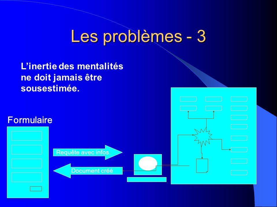 Les problèmes - 3 Requête avec infos. Document créé Formulaire Linertie des mentalités ne doit jamais être sousestimée.