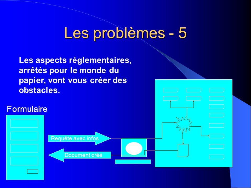 Les problèmes - 5 Requête avec infos. Document créé Formulaire Les aspects réglementaires, arrêtés pour le monde du papier, vont vous créer des obstac