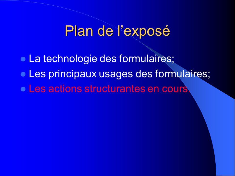 Plan de lexposé La technologie des formulaires; Les principaux usages des formulaires; Les actions structurantes en cours.