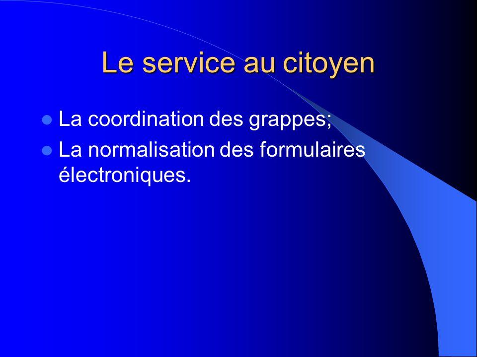 Le service au citoyen La coordination des grappes; La normalisation des formulaires électroniques.