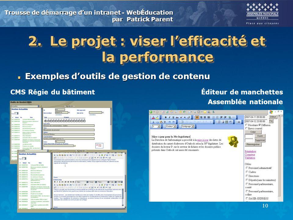 Trousse de démarrage dun intranet - WebÉducation par Patrick Parent 10 2.Le projet : viser lefficacité et la performance n Exemples doutils de gestion