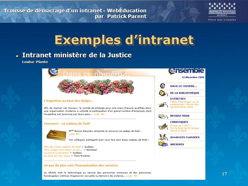 Trousse de démarrage dun intranet - WebÉducation par Patrick Parent 17 Exemples dintranet n Intranet ministère de la Justice Louise Plante