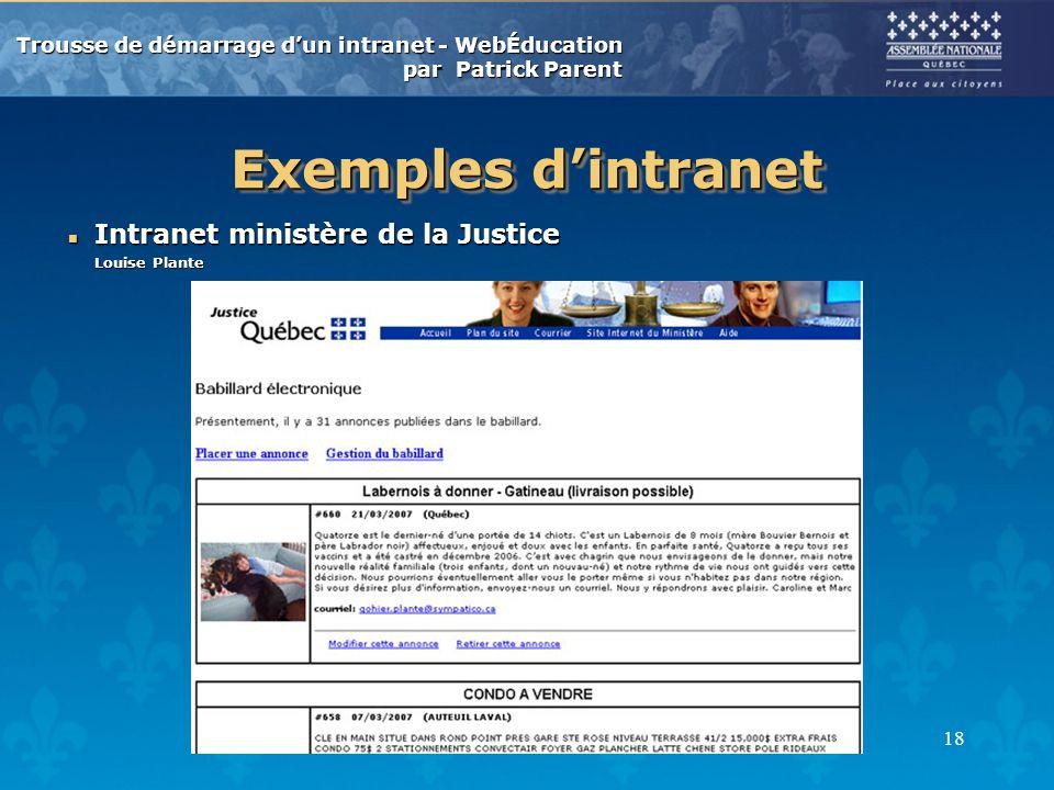 Trousse de démarrage dun intranet - WebÉducation par Patrick Parent 18 Exemples dintranet n Intranet ministère de la Justice Louise Plante