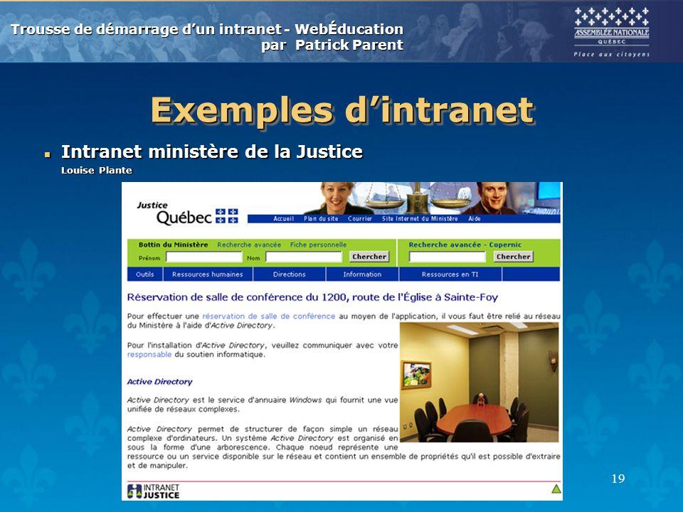 Trousse de démarrage dun intranet - WebÉducation par Patrick Parent 19 Exemples dintranet n Intranet ministère de la Justice Louise Plante