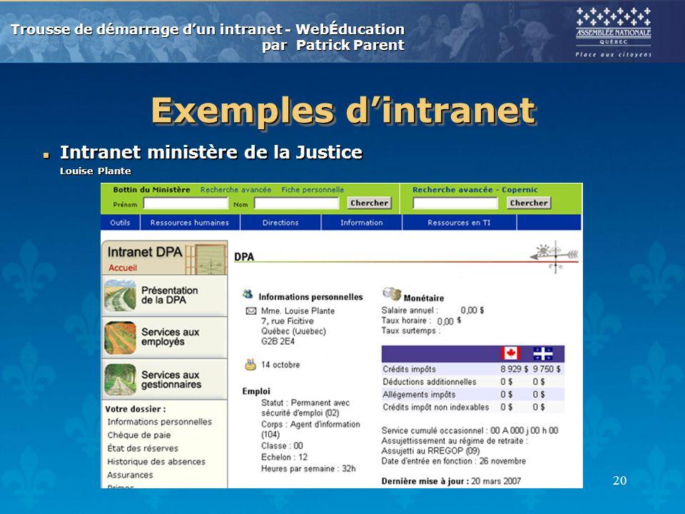 Trousse de démarrage dun intranet - WebÉducation par Patrick Parent 20 Exemples dintranet n Intranet ministère de la Justice Louise Plante
