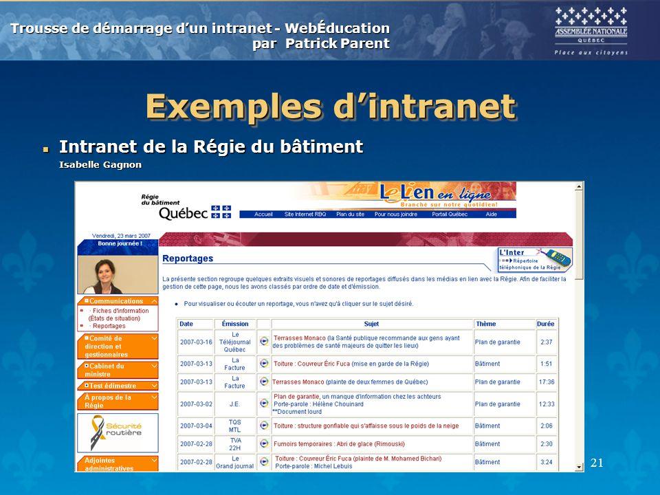 Trousse de démarrage dun intranet - WebÉducation par Patrick Parent 21 Exemples dintranet n Intranet de la Régie du bâtiment Isabelle Gagnon