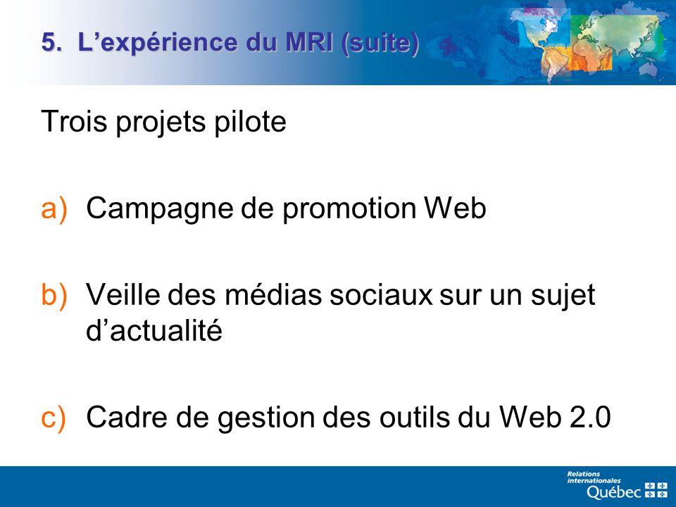 5. Lexpérience du MRI (suite) Trois projets pilote a)Campagne de promotion Web b)Veille des médias sociaux sur un sujet dactualité c)Cadre de gestion