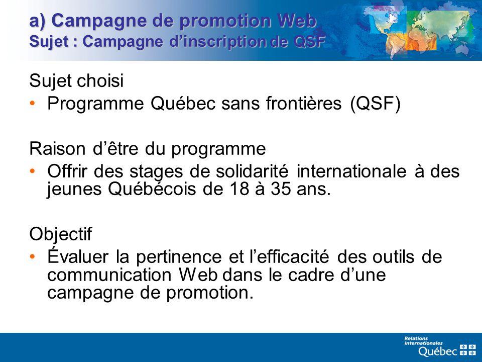 a) Campagne de promotion Web Sujet : Campagne dinscription de QSF Sujet choisi Programme Québec sans frontières (QSF) Raison dêtre du programme Offrir des stages de solidarité internationale à des jeunes Québécois de 18 à 35 ans.