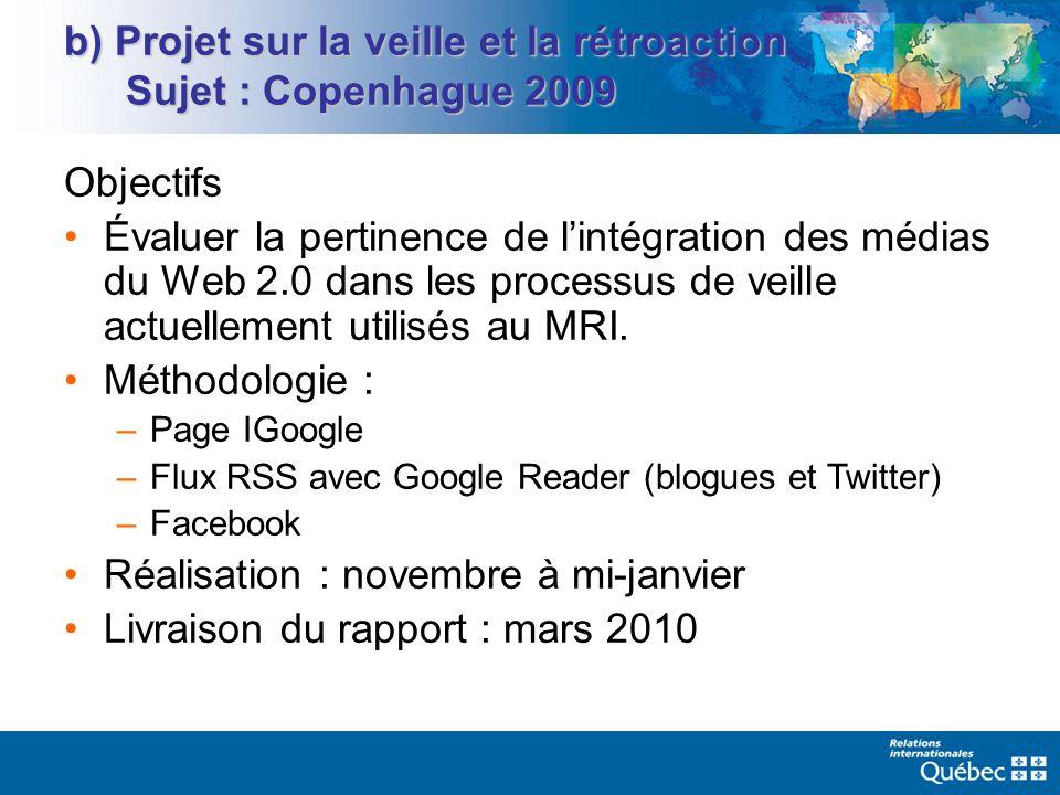 b) Projet sur la veille et la rétroaction Sujet : Copenhague 2009 Objectifs Évaluer la pertinence de lintégration des médias du Web 2.0 dans les processus de veille actuellement utilisés au MRI.