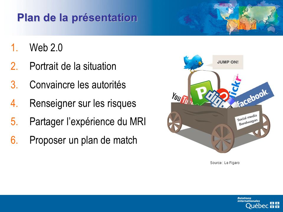 Plan de la présentation 1.Web 2.0 2.Portrait de la situation 3.Convaincre les autorités 4.Renseigner sur les risques 5.Partager lexpérience du MRI 6.Proposer un plan de match Source : Le Figaro