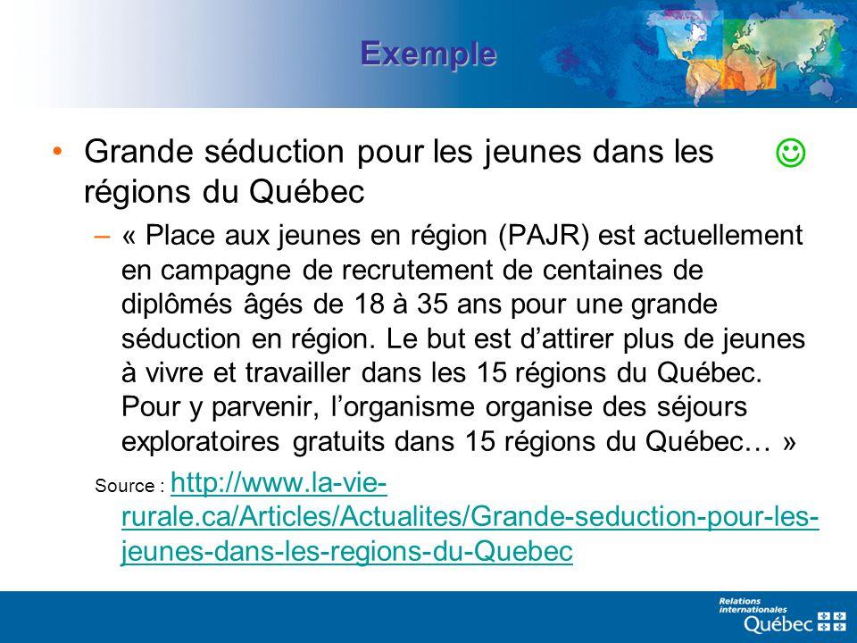 Exemple Grande séduction pour les jeunes dans les régions du Québec –« Place aux jeunes en région (PAJR) est actuellement en campagne de recrutement de centaines de diplômés âgés de 18 à 35 ans pour une grande séduction en région.