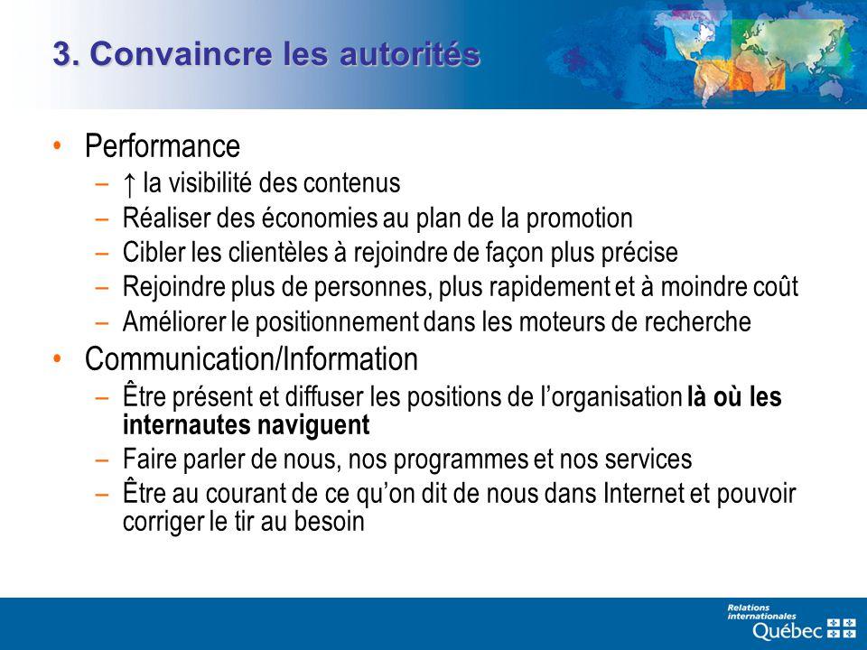 3. Convaincre les autorités Performance – la visibilité des contenus –Réaliser des économies au plan de la promotion –Cibler les clientèles à rejoindr