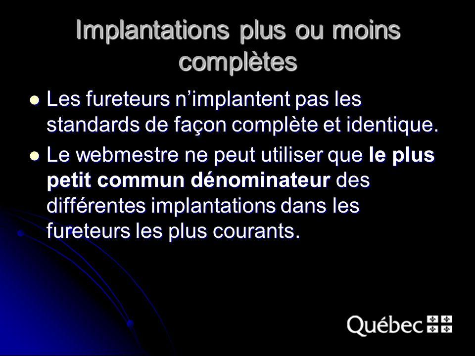 Implantations plus ou moins complètes Les fureteurs nimplantent pas les standards de façon complète et identique. Les fureteurs nimplantent pas les st