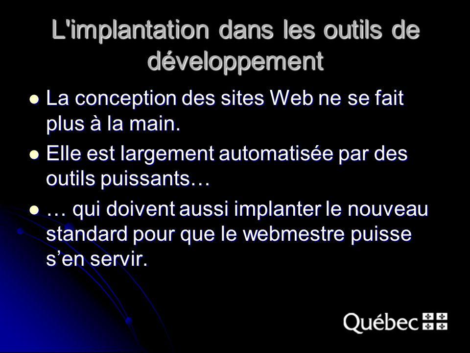 L implantation dans les outils de développement La conception des sites Web ne se fait plus à la main.